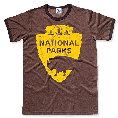 Hank Player U.S.A. National Parks Men's Ringer T-Shirt (M, Heather Brown)