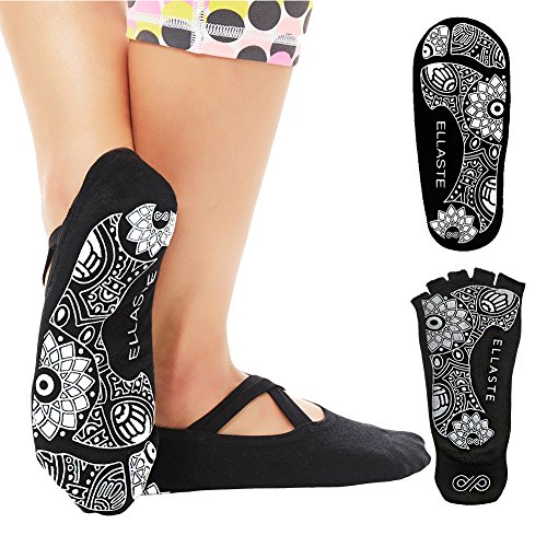 Ellaste Non Slip Yoga Socks – Open Toe and Closed Toe Anti Skid Grip Sock for Yoga Pilates Barre – for Women Girls Men Boys – DiZiSports Store