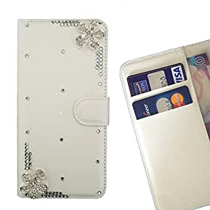 FOR ZTE X5 Love Love Flower Bling Bling PU Leather Waller Holder Rhinestone - - OBBA