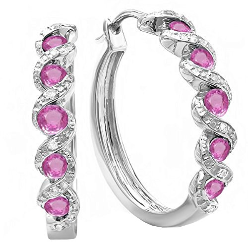 Dazzlingrock Collection Round Lab Created Gemstone White Diamond Hoop Earrings, Sterling Silver