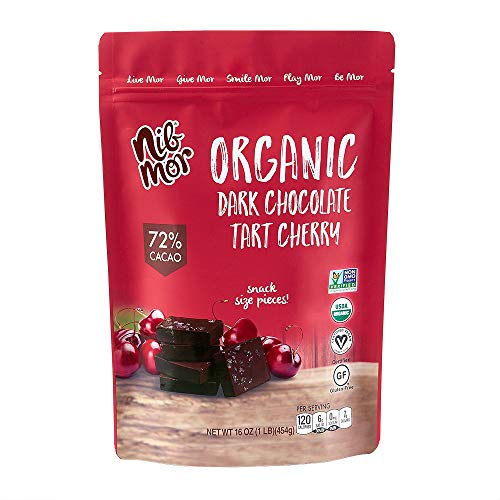 Nib Mor Organic Dark Chocolate Snacking Bites with Real Tart Cherries - Perfect Gift or Indulgent Treat - 16 Oz (1 Pack)