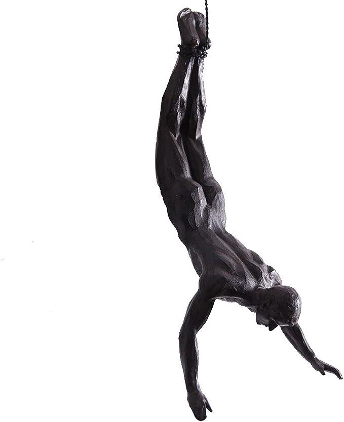 olpchee nórdicos moderna escultura de resina de Simplicity Creative escalada hombre a mano Esculturas de pared para Art Home Decor Negro
