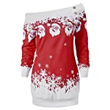 DEZZAL Women's Skew Neck Christmas Santa Claus Snowflake Pullover Sweatshirt (Deep Red, M)