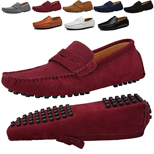 - JIONS Men's Driving Penny Loafers Suede Driver Moccasins Slip On Flats Casual Dress Shoes Red 11.5 D(M) US/EU 47