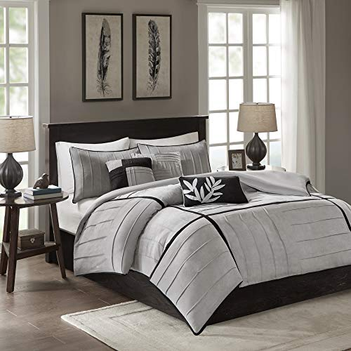 Madison Park Dune Duvet Cover King/Cal King Size - Grey , Pieced Duvet Cover Set - 6 Piece - Faux Suede Light Weight Bed Comforter Covers