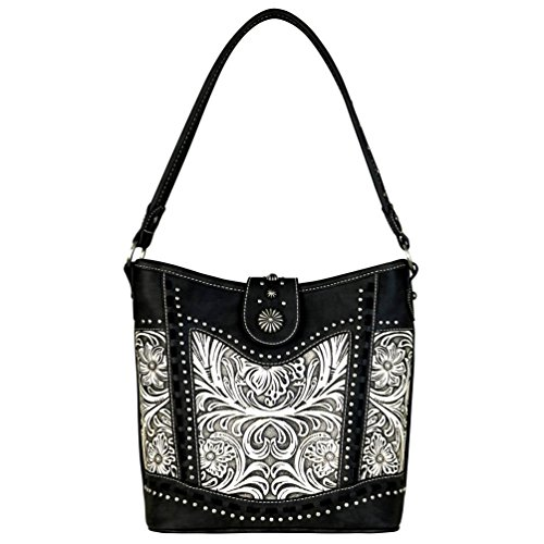 Leather Trinity Collection Handbag Beige Hobo Tooled Ranch Black Eq1rW1U