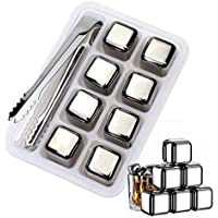 COLEFOR 8 Pcs Whiskey Stones Stainless Steel Ice Cubes, Reusable Stainless Steel Chilling Rocks & Tongs, Box Packaging