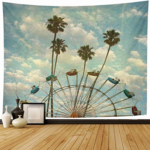 (Ahawoso Tapestry Wall Hanging 90x60 Blue Family Aged Worn Vintage Ferris Wheel Old Sports Recreation Ride Abstract Activity Amusement Home Decor Tapestries Decorative Bedroom Living Room Dorm)