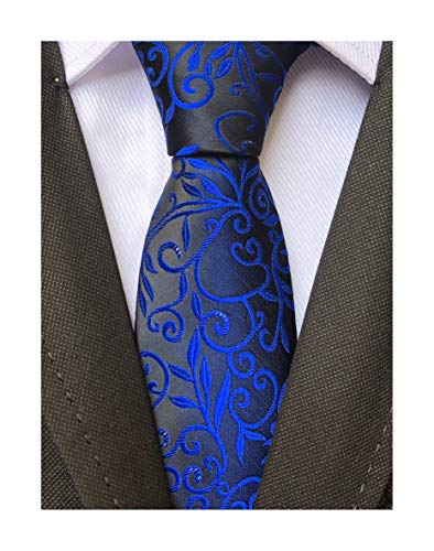 Blue Narrow Ties Silk (Men's Royal Blue BLACK Jacquard Silk Narrow Ties Bridegroom Funny Neckties Gifts)