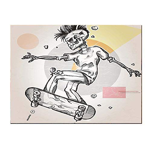 SATVSHOP Print on canvas-24Lx24W-Skull Punk Ocker Skeleton Boy on a Skateboard Skiing with Abstract Background Black and White.Self-Adhesive backplane/Detachable Modern Decorative Art.