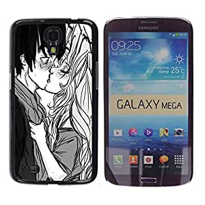 For Samsung Galaxy Mega 6.3 Case , Baiser Garçon Fille Surprise Amour Couple Art Dessin - Diseño Patrón Teléfono Caso Cubierta Case Bumper Duro Protección Case Cover Funda