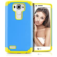 LG G4 Case, MagicMobile (Blue/Yellow) Dual Layer Color - Slim Hybrid Shockproof Silicone Protective Case For LG G4 - Scratch & Impact Resistant, Anti-Dust Protection Rugged Tough Cover