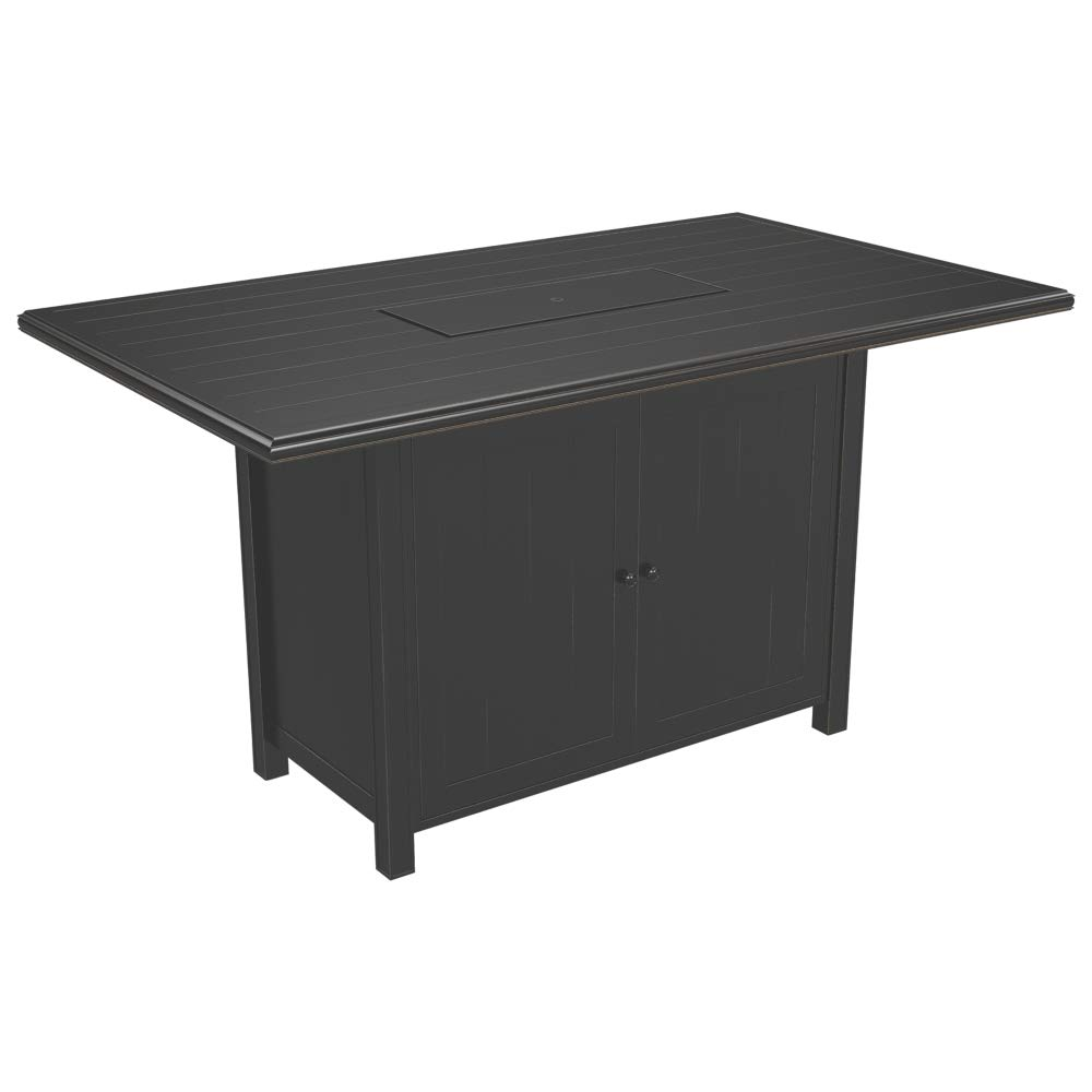 Ashley furniture signature design perrymount outdoor rectangular fire pit bar table plank effect styling storage doors stainless steel burner with