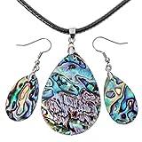 "Angel Jewelry Women's Sea Abalone Shell Necklace Pendant Earrings Sets 18""+2"""