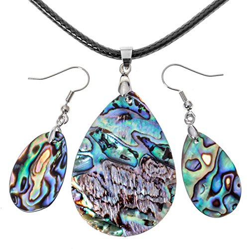 Angel Jewelry Women's Sea Abalone Shell Necklace Pendant Earrings Sets ()