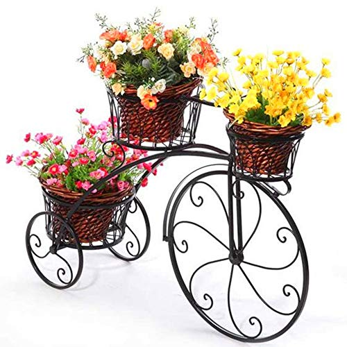 Cart Iron Wrought Metal - Wrought Iron Bicycle Flower Stand, Pots Ferrous Metal Cart Frame with Tray Design, Indoor and Outdoor Potted Flowers Frame, Including 3 Pot Racks, Easy to Install