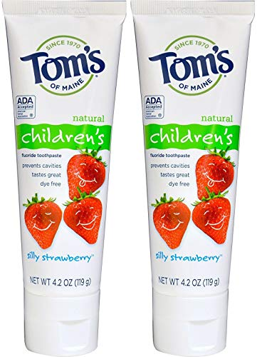 Children's Silly Strawberry Toothpaste (Pack of 2) With Carrageenan, Calcium and Hydrated Silica, 4 oz. each