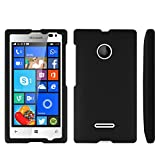 Spots8 Microsoft Lumia 435 Case Slim Two Piece Snap On Hard Plastic Rubberize Feel Durable Drop Proof Black
