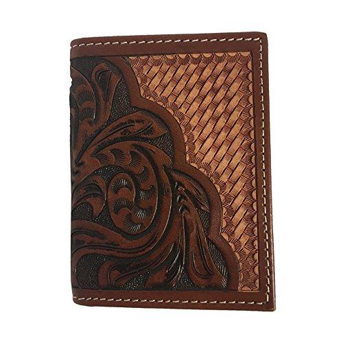 Ranger Belt Company Brand Leather Trifold Basket Floral Pattern Wallet - C1308T