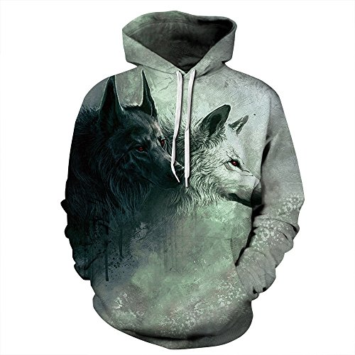 Grace's Secret Unisex Animal Print Pockets 3D Pullover Hoodie Hooded For Couple Wolves S/M