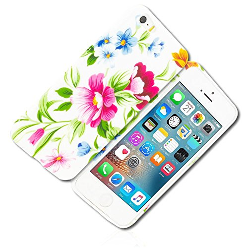 mySimple Custom Made FLEX-Gel Silicone Fitted Case for Apple iPhone 5 5S SE w/Soft Flexible Shock Absorbing Bumper Guard Edge & Bright Spring Time Floral Garden Flowers & Leaves Design - Fitted Spring Leaf