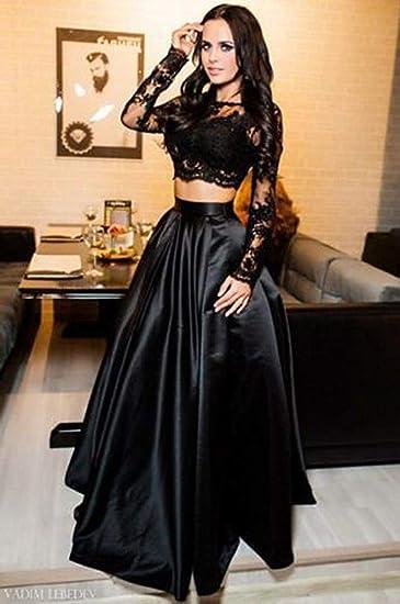MJY Moda mujer Crop Top + Falda larga, conjunto de dos piezas ...