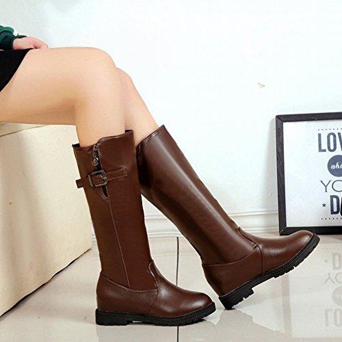 Plana Botas Las de de Occidentales Invierno E Las Zapatos de Mujeres Botas Caqui Altas Botas Las ZH Aumentaron Otoño Manga aZSwpxqdCC