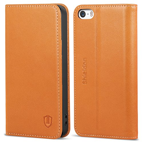 iPhone SE Case iPhone 5S Case, SHIELDON Genuine Leather Wallet Case Slim Flip Cases Cover with Kickstand & Credit Card Slots, Magnetic Closure Compatible with iPhone 5/5S/SE (Tan Brown)