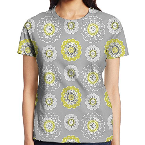 WuLion Light Grey Backdrop with Indian Inspired Flowers Ivy Women's 3D Print T Shirt XXL White