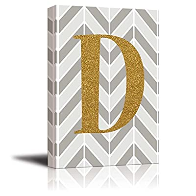 The Letter D in Gold Leaf Effect on Geometric Background Hip Young Art Decor, Quality Creation, Magnificent Expertise