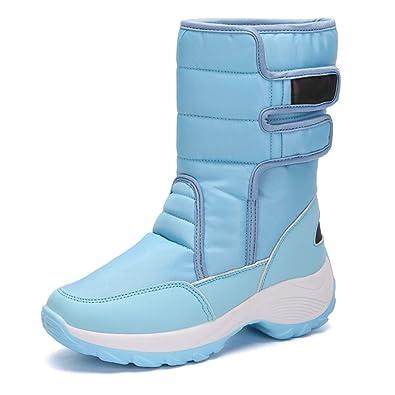 Schneestiefel Damen Wasserdicht Winterschuhe Warm Gefüttert Winterstiefel  Für Frauen Flache Stiefeletten Klettverschluss Outdoor Snow Boots Blau 42f760e5d0