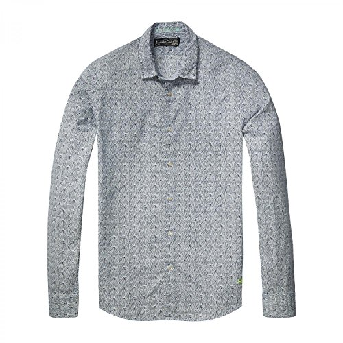 - Scotch & Soda Men's Long Sleeve Shirt in Cotton Voile Quality with Colorful All Over Combo E XX-Large
