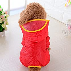 Glumes Fashion Pet Dog Raincoat For Small Dogs | Dog Rain Jacket With Hood | Dog Rain Poncho | 100% Polyester | Water Proof | Perfect Rain Gear For Your Pet