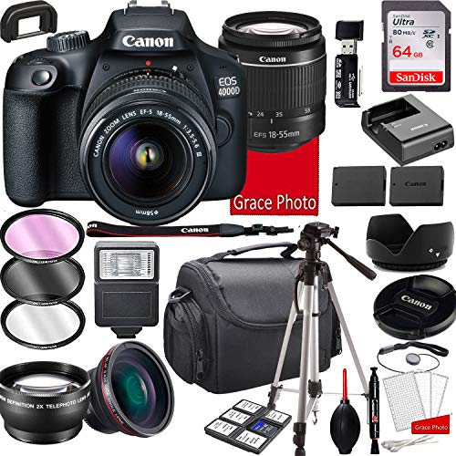 Canon EOS 4000D DSLR Camera with 18-55mm f/3.5-5.6 Zoom Lens, 64GB Memory,Case, Tripod and More (28pc Bundle)