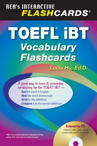 TOEFL iBT Vocabulary Flashcard Book w/ Audio CD (English as a Second Language Series) by Research & Education Association