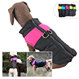Lovelonglong Dog Winter Coat Warm Down Jacket, Windproof Dog Jackets Puffer Vest with Zipper and Leash Ring for Large Medium Small Dogs,Extra Protection for Outdoor Cold Weather Magenta L-XS