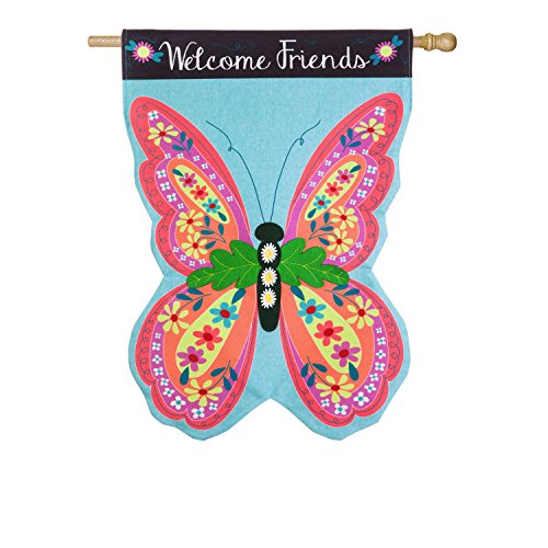 Evergreen Butterfly Welcome Outdoor Safe Double-Sided Linen House Flag, 28 x 44 (Evergreen Butterfly House)