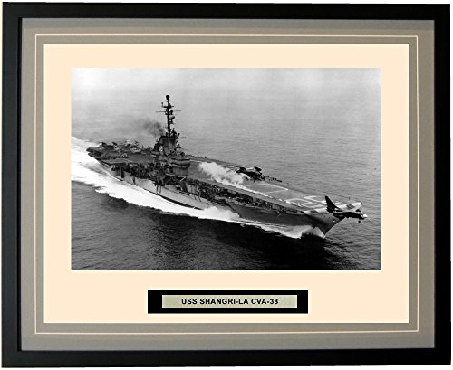 - Navy Emporium - USS Shangri-La CVA-38 - Framed - Photo - Engraved Ship Name - Double Mat - Photograph - 16 X 20 - 33CVA38Grey