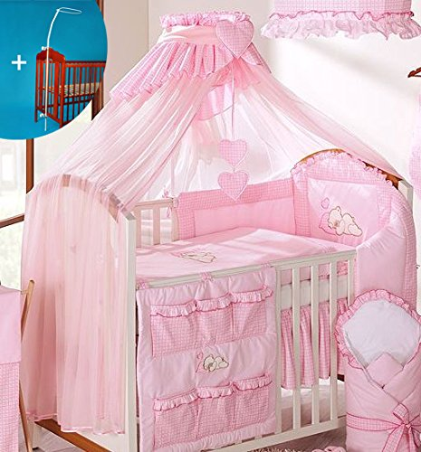 Luxury Baby Canopy/Mosquito Net 480 cm for Cot Bed + Holder/Rod (PINK CHECK) Baby Comfort