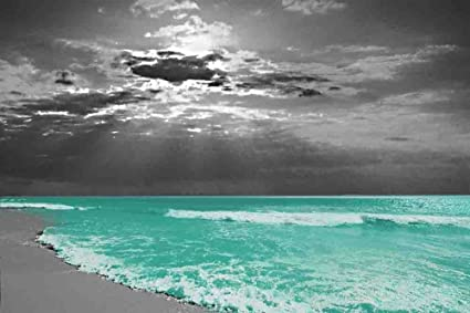 Evening Serenity   Gray Background With 3 Decor Colors   Beach, Ocean,  Seascape,