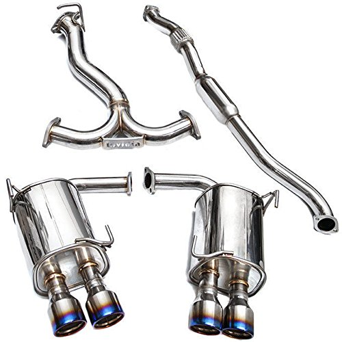 Invidia (HS15STIG3T) Q300 Rolled Titanium Quad Tip Cat-Back Exhaust System for Subaru WRX/STI (Sti Racing Cat)