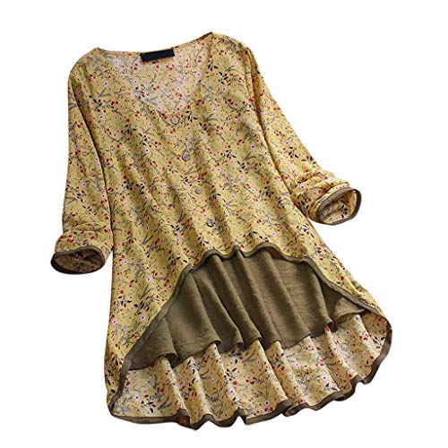 TUSANG Women Vintage V-Neck Floral Printing Patch Long Sleeves Top T-Shirt Blouse Loose Fit Comforty Casual Tunic (US-18/CN-5XL, X-Yellow) ()