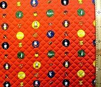 <Qキャラクター・キルティング生地>ミッフィー(ミフィー・ミィフィー)(オレンジ)#24 ( 2018-2019)(キルティング キルト キャラクター キルティング生地 布 入園 入学 ピロル)の商品画像