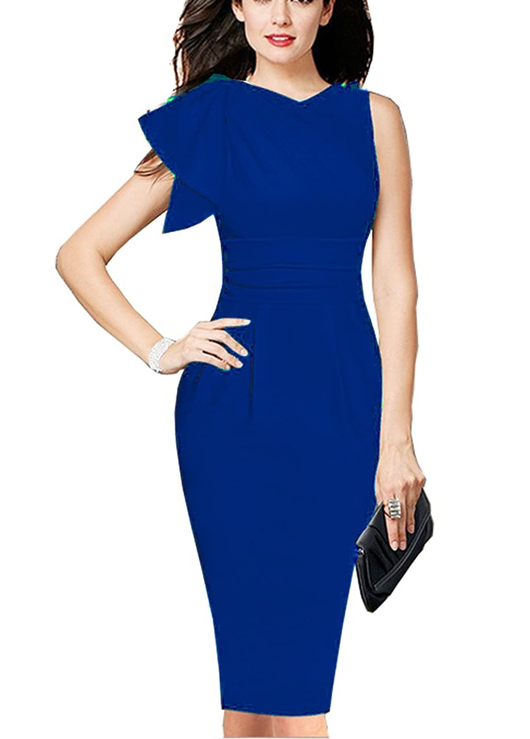REPHYLLIS Women Elegant Sleeveless Working Cocktail Casual Party OL Sheath Dress