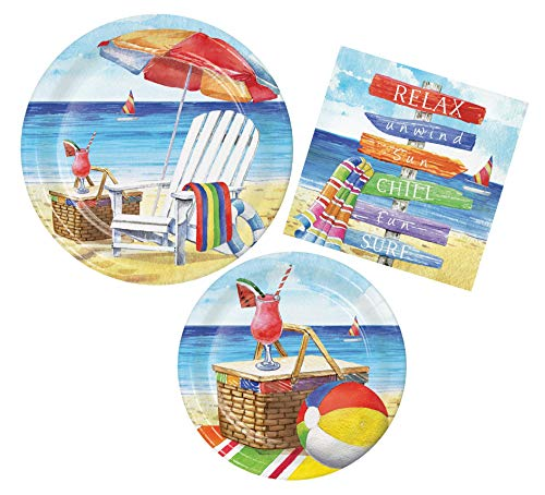 - Summer Breezy Beach Party Bundle with Paper Plates and Napkins for 8 Guests