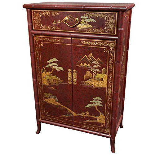 Oriental Furniture Japanese Shoe Cabinet - Red Crackle (Oriental Storage Cabinet)