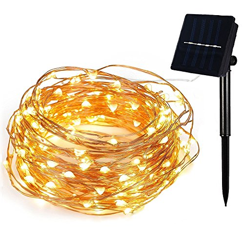 BBKANI Solar String Lights, 100 LED Lights, Starry Fairy Lights, Indoor/Outdoor Waterproof Solar Decoration Lights for Patio, Gardens, Home, Dancing, Party, Wedding(Warm White)
