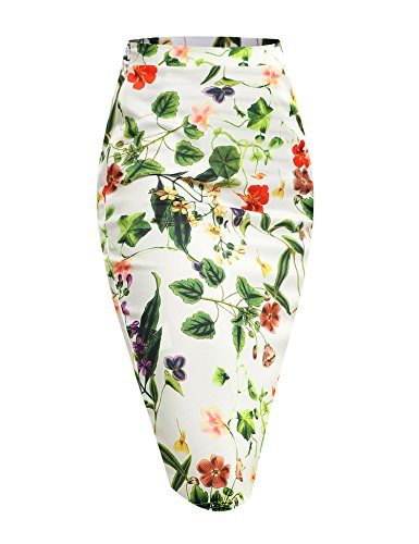 ACEVOG Women's High Waist Floral Print Bodycon Midi Pencil Skirt For Office Work Wear (Green Floral Skirt)