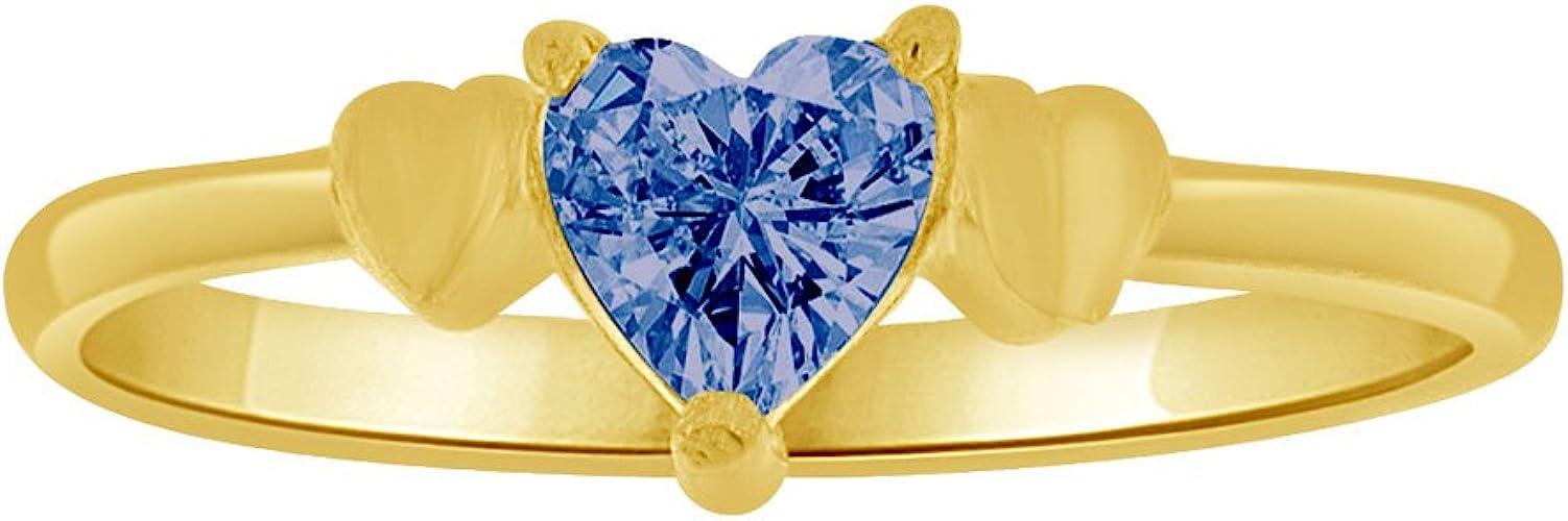 14k Yellow Gold Mini Size Child Ring Created Blue CZ Heart Design
