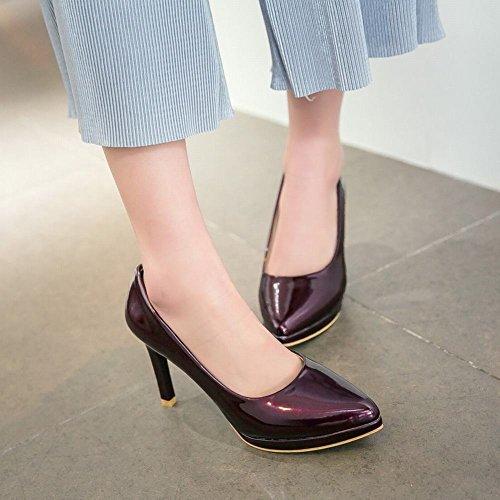 Zapatos De La Bomba De Tacón Alto Con Punta En Punta De Estilo Sipmle Para Mujer De Color Sólido Marrón